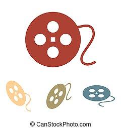 Film circular icon set. Isometric effect