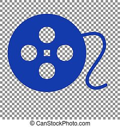 Film circular sign. Blue icon on transparent background.