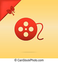 Film circular sign. Cristmas design red icon on gold background.