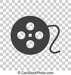Film circular sign. Dark gray icon on transparent background.