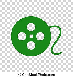 Film circular sign. Dark green icon on transparent background.
