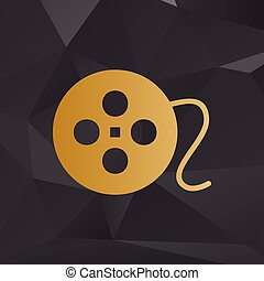 Film circular sign. Golden style on background with polygons.
