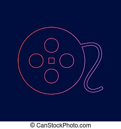 Film circular sign. Vector. Line icon with gradient from red to violet colors on dark blue background.