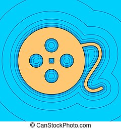 Film circular sign. Vector. Sand color icon with black contour and equidistant blue contours like field at sky blue background. Like waves on map - island in ocean or sea.
