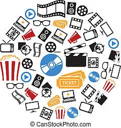film, cirkel, iconen