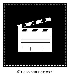 Film clap board cinema sign. Black patch on white background. Is