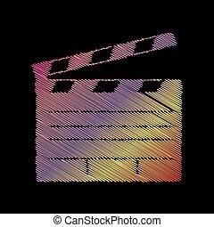 Film clap board cinema sign. Coloful chalk effect on black backgound.