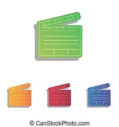 Film clap board cinema sign. Colorfull applique icons set.
