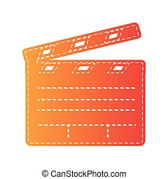 Film clap board cinema sign. Orange applique isolated.