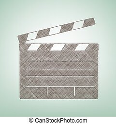 Film clap board cinema sign. Vector. Brown flax icon on green background with light spot at the center.