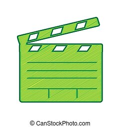 Film clap board cinema sign. Vector. Lemon scribble icon on white background. Isolated