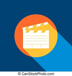 Film clap board cinema sign. Vector. White icon on tangelo circle with infinite shadow of light at cool black background. Selective yellow and bright navy blue are produced.