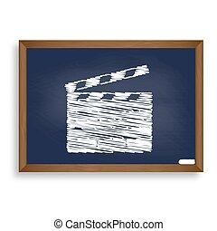 Film clap board cinema sign. White chalk icon on blue school boa