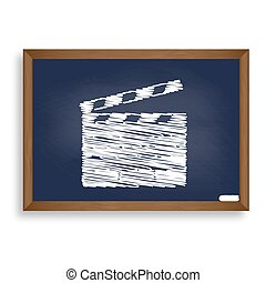 Film clap board cinema sign. White chalk icon on blue school boa