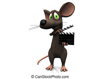 film, clapboard., muis, spotprent, vasthouden