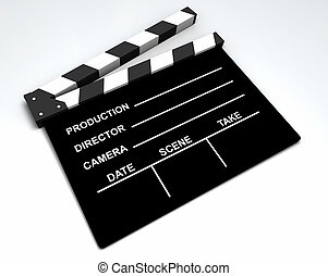 Film - Clapboard - 3D black and white clapboard for movie...
