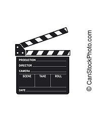 Film clapper board icon isolated on white background. Blank movie clapper cinema vector illustration