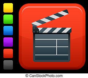 Film clapper board  icon on square internet button