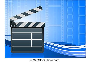 Film clapper board on blue background