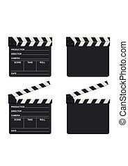 Film clapper board set isolated on white background. Blank movie clapper cinema vector illustration