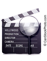film clapper board with magnifying glass cutout