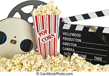 film, clapper bord, in, popcorn
