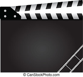 Film clapper with design elements. Background. Vector illustration.