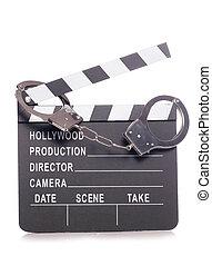 film clapper with handcuffs