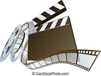 Film clapperboard and movie film re - A clapperboard and...