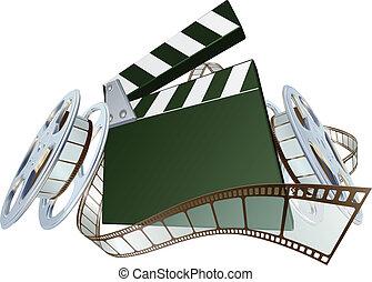 Film clapperboard and movie film reels