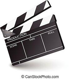 film clapperboard open sign