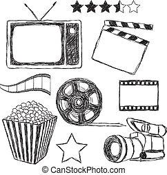 film, collezione, scarabocchiare