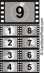 film, conto alla rovescia, numbers., vettore, illustrazione