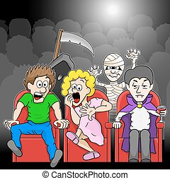 film, coppia, cinema, orrore, osservare