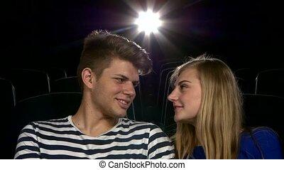 film, couple, haut, romatic, theater., moment, élégant, fin, avoir