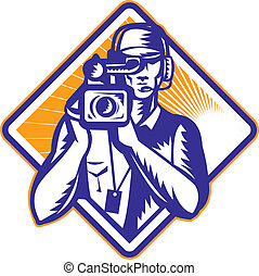 Film Crew Cameraman Holding Camera Retro - Illustration of a...