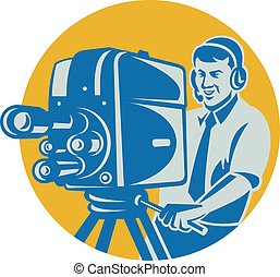 Film  Crew TV Cameraman With Movie Camera Retro