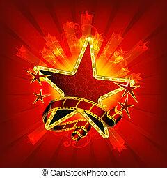 film, csillaggal díszít, eps10, piros