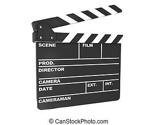 film cut - 3d illustration of film clap over white...