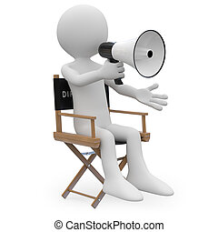 Film director sitting in a chair with a megaphone. Rendered...