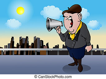 film director yell - illustration of a film director yell to...