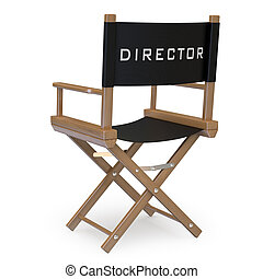 Film director's chair back view. Rendered on a white ...