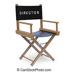 Film director\'s chair. Rendered on a white background with...