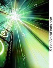 Filmstrip Sparkling Starburst Green Hue Black Background