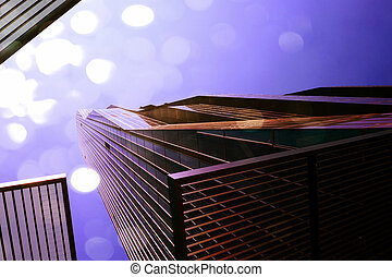 Film effect. High rise office tower with blue windows and ...