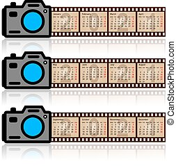film, elegante, calendario, macchina fotografica, 2021, 35mm