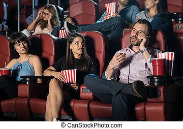 film, ennuyeux, théâtre, homme