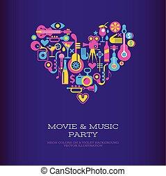 film, et, musique, fête