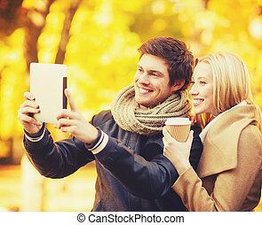 film, fénykép, párosít, liget, ősz, bevétel