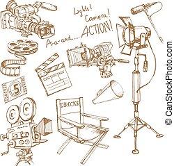 film, fare, set, oggetti